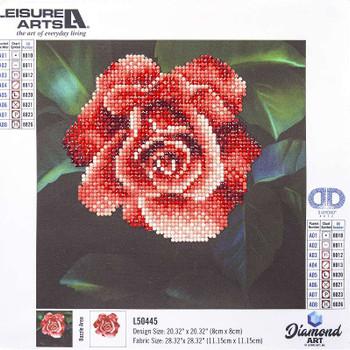 "Leisure Arts Diamond Art Beginner Kit 8""X8"" Red Rose"