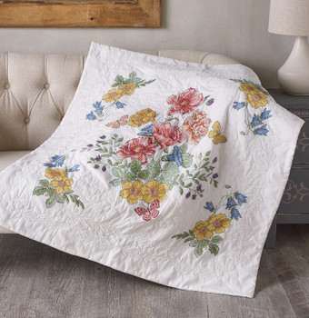 """Bucilla Stamped Cross Stitch Lap Quilt Kit 45""""X45"""" Flowers From The Garden"""