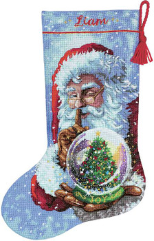 "Dimensions Stocking Cross Stitch Kit 16"" Long Santa's Snowglobe"