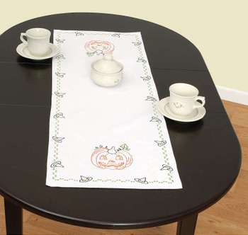 """Jack Dempsey Stamped Table Runner/Scarf 15""""X42"""" Halloween"""