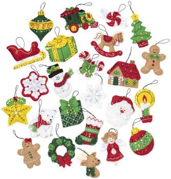 Bucilla Felt Ornaments Applique Kit Set Of 25 Christmas Minis