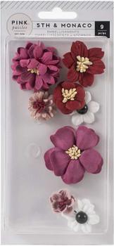 5th & Monaco Dimensional Flowers 9/Pkg Paper & Cloth