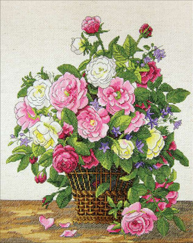 """Janlynn Counted Cross Stitch Kit 12""""X14"""" Roses (14 Count)"""