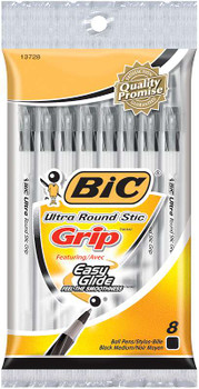 Bic Ultra Round Stic Grip Medium Ballpoint Pens 8/Pkg Black