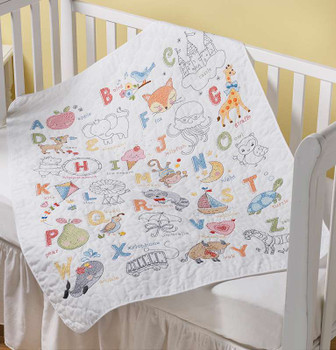 "Bucilla Stamped Crib Cover Cross Stitch Kit 34""X43"" ABC Baby"