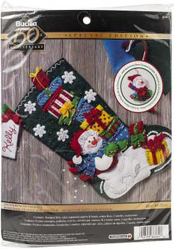 "Bucilla Felt Stocking Applique Kit 18"" Long Snowman W/Presents"