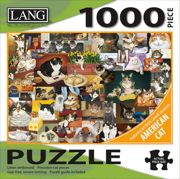 """Jigsaw Puzzle 1000 Pieces 29""""X20"""" American Cat"""