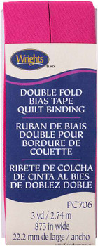 "Wrights Double Fold Quilt Binding 7/8""X3yd Hot Magenta"