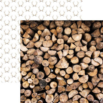 """Scandinavian Woodland Double-Sided Cardstock 12""""X12"""" Stacked Logs"""