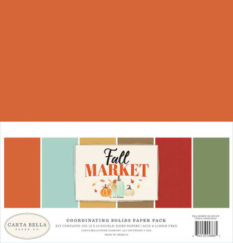 "Carta Bella Double-Sided Solid Cardstock 12""X12"" 6/Pkg Fall Market, 6 Colors"