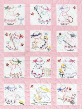 """Stamped White Nursery Quilt Blocks 9""""X9"""" 12/Pkg Girls"""