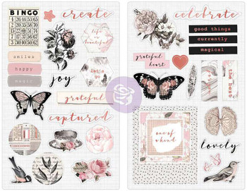 "Amelia Rose Chipboard Stickers 5""X8"" 2/Pkg Pink Roses W/Rose Gold Foil Accents"