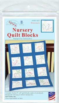 """Jack Dempsey Stamped White Nursery Quilt Blocks 9""""X9"""" 12/Pkg Dinosaurs"""