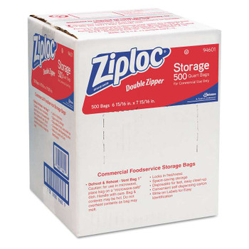 Ziploc® Double Zipper Plastic Storage Bag, 1.75 mil, 1qt, Clr, Write-On ID Panel, 500/BX