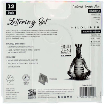 Zebra Mildliner Lettering Set 12/Pkg Assorted Colors & Styles