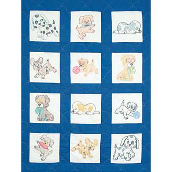 """Stamped White Nursery Quilt Blocks 9""""X9"""" 12/Pkg Puppies"""