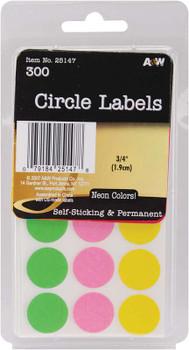 """Labels Neon Circles .75"""" 300/Pkg"""