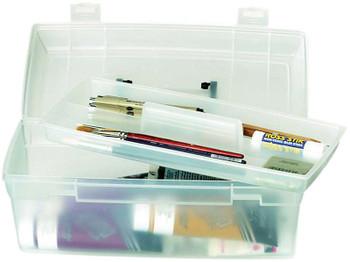 "ArtBin Essentials Lift-Out Box W/Handle 13""X6""X5.625"" Translucent W/Black"