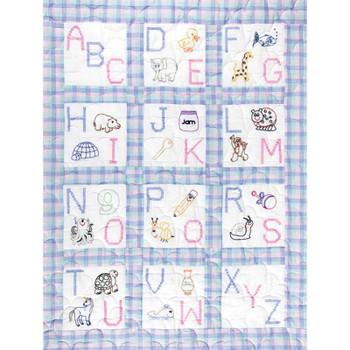 """Stamped White Nursery Quilt Blocks 9""""X9"""" 12/Pkg ABC"""