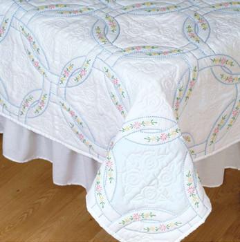 "Stamped White Quilt Blocks 18""X18"" 6/Pkg Interlocking Wedding Rings"