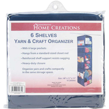 "6 Shelf Yarn & Craft Organizer 48""X11""X11"" Navy"
