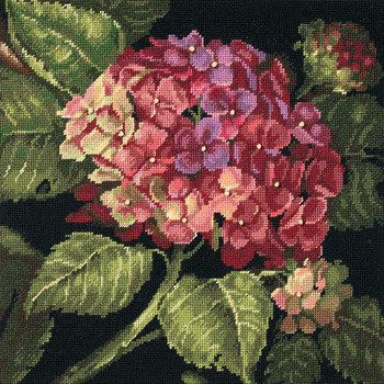 """Hydrangea Bloom Needlepoint Kit 14""""X14"""" Stitched In Wool"""