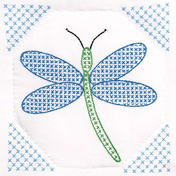"Stamped White Quilt Blocks 9""X9"" 12/Pkg Dragonfly"