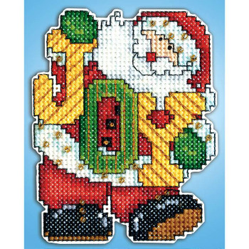 "Joy Santa Ornament Plastic Canvas Kit 4""X3"" 14 Count"
