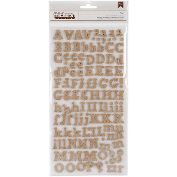 "DIY Thickers Alphabet Stickers 6""X11"" Sheets 2/Pkg Eric/Burlap Chipboard"