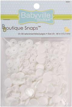 Babyville Boutique Snaps Size 20 60/Pkg White