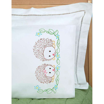 Children's Stamped Pillowcase W/White Perle Edge 1/Pkg Hedgehogs