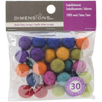 Feltworks Ball Assortment 30/Pkg