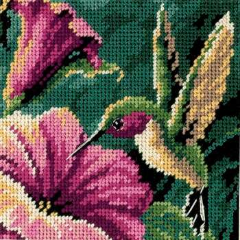 "Hummingbird Drama Mini Needlepoint Kit 5""X5"" Stitched In Thread"