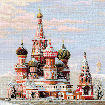 "Moscow St Basil's Cathedral Counted Cross Stitch Kit 15.75""X15.75"" 14 Count"