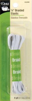 """Braided Elastic 1/8""""X4yd White"""