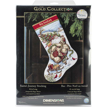"""Gold Collection Santa's Journey Stocking Counted Cross Stitc 16"""" Long 18 Count"""