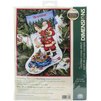 "Checking His List Stocking Counted Cross Stitch Kit 16"" Long 14 Count"