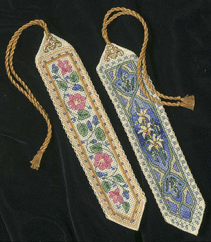 """Gold Collection Bookmarks Counted Cross Stitch Kit 9"""" Long 14 Count Set Of 2"""