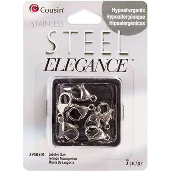 Stainless Steel Elegance Beads & Findings Lobster Claw Clasps 7/Pkg