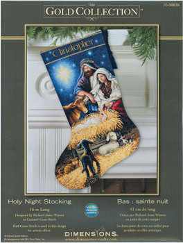 "Gold Collection Holy Night Stocking Counted Cross Stitch Kit 16"" Long 18 Count"