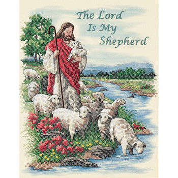 "The Lord Is My Shepherd Stamped Cross Stitch Kit 11""X14"""