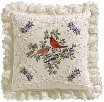 "Birds And Berries Candlewicking Embroidery Kit 14""X14"" Stitched In Thread"
