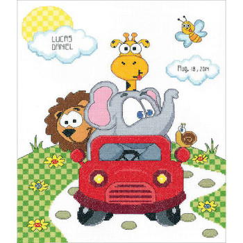 """Animal Fun Ride Sampler Counted Cross Stitch Kit 11""""X14"""" 14 Count"""
