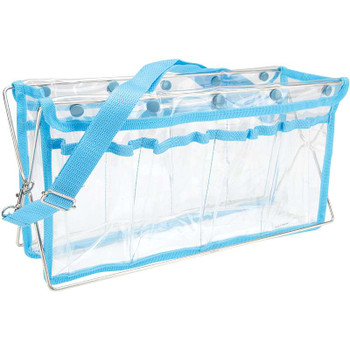 "Deluxe Handy Caddy 14""X7""X5"" Clear W/Turquoise Trim"