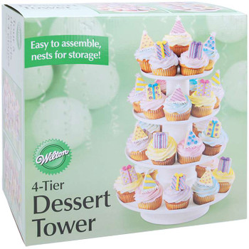 """4-Tier Dessert Tower White 16.25""""X12"""" Holds 36 Cupcakes"""