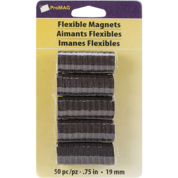 "ProMag Flexible Round Magnets .75"" 50/Pkg"