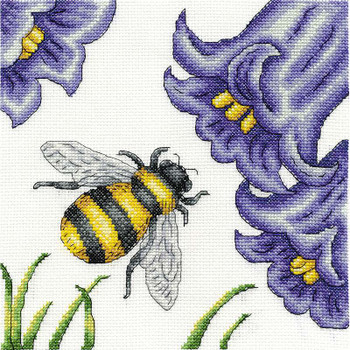 "Bee And Bluebells Counted Cross Stitch Kit 8""X8"" 14 Count"