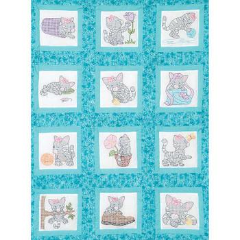 """Themed Stamped White Quilt Blocks 9""""X9"""" 12/Pkg Kittens"""