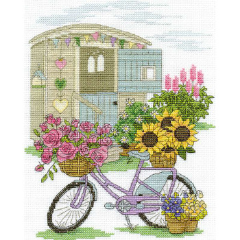 "Flowery Bicycle Counted Cross Stitch Kit 8""X10"" 14 Count"