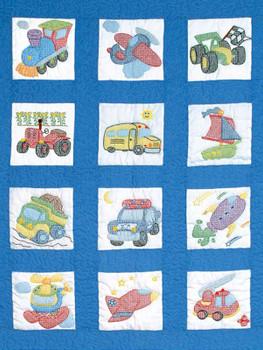"Stamped White Nursery Quilt Blocks 9""X9"" 12/Pkg Transportation"
